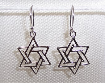 Sterling Silver Star of David Earrings 30mm x 14mm.