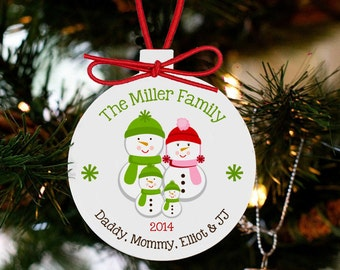 Personalized family ornament - snowman family ornament HOSF