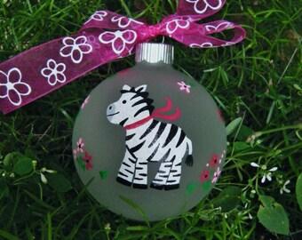 Zebra Ornament - Personalized for Birthday or Christmas - Hand Painted Glass Bauble, Zebra Birthday, Zoo Animal, Zebra Print, Zebra Decor
