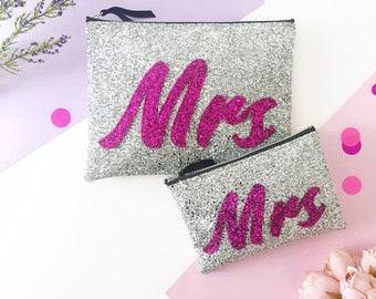 Mrs Bag, Wedding Day Clutch, Personalised Bridal Bag, Bride Bag, Bridal Shower Gift, Bridal Accessories, Clutch for Bride, Mrs Accessories
