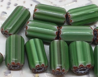 15 Green Striped Cane Beads , 10mm