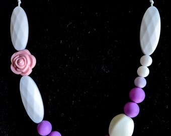 Purple Rose Teething Necklace - Mom and baby gift