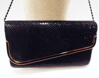Vintage Black Metal Mesh Purse Clutch Evening Crossbody Shoulder Bag Vintage Mesh Handbag