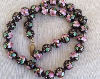 1960's cloisonne enameled beads necklace