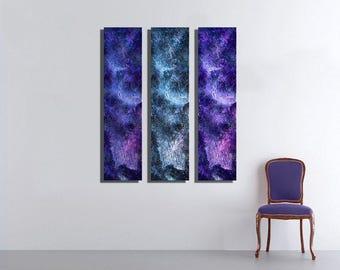 Galaxy Large Vertical Thin Panel Metal Abstract  Wall Art