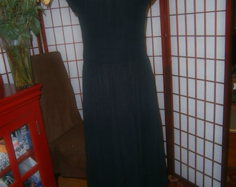 Gauze Dress - 1980's - Off the Shoulder-Black with Ruffles