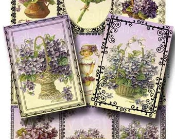 Victorian Violets Digital Collage Sheet Printable Instant Download Original Whimsical Altered Art by GalleryCat CS40