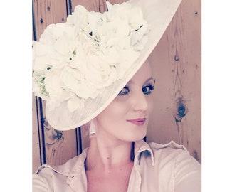 Bespoke Handmade White Floral Elegant Ladies Day Hat