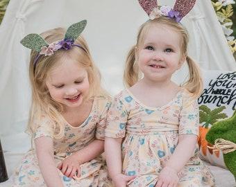 Glitter Bunny Ears - Headband Bunny Ears - Glitter Photo Prop - Easter Rabbit Ears - Photo Prop - Bunny Ears -Toddler Dress Up