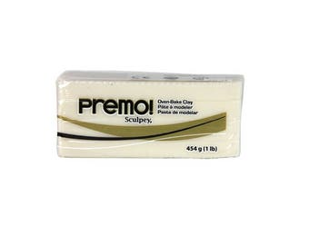 PREMO SCULPEY White Translucent Polymer Clay Oven Bake Professional Quality
