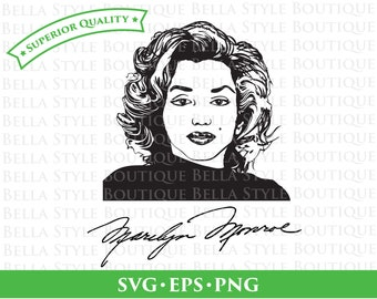 Marilyn Monroe and Signature svg png eps cut file