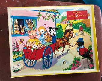 Vintage kitschy Cute 1960s High Spot Wooden Jigsaw Puzzle