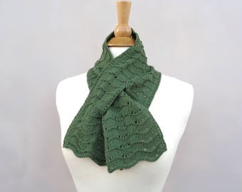 Loden Green Keyhole Scarf, Pull Through Scarf, 100% Cashmere, Hand Knit Neck Scarf, Bow Scarflette, Womens Scarf