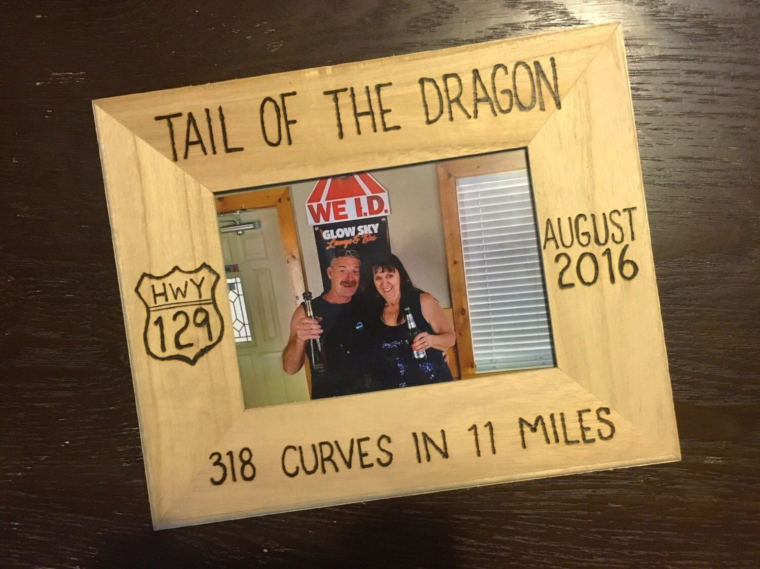 Tail of the Dragon picture frame wood burning art motorcycle
