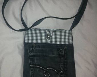Black denim shoulder bag