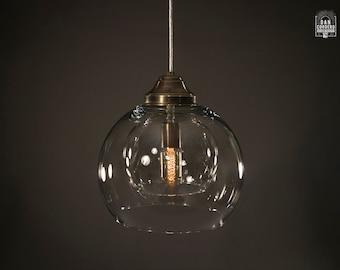 Pendant Light Fixture | Edison Bulb | Aged Brass | Pendant | Kitchen Light | Pendant Light |  Edison Light Bulb | Double Globe Shade
