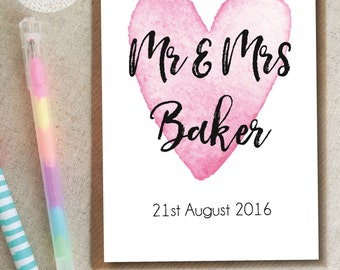 Personalised Heart Mr & Mrs Wedding Card