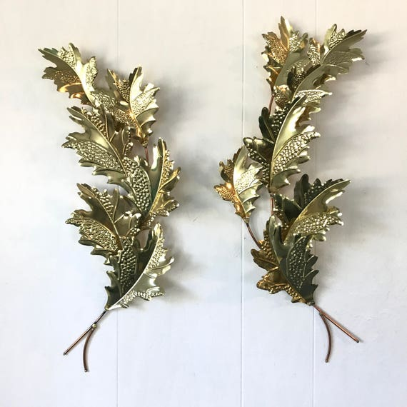 vintage brass leaves wall sculptures - gold metal oak leaves wall hanging - Mid Century - Hollywood Regency - nature decor