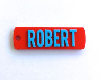 Robert, CUSTOM 3D PRINTED  Round Corner Name  Keychain (Keyring), Favor gifts, Kids /Teen/Adult bag, Personalized, Red & Baby blue