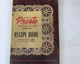 1947 National Presto Pressure Cooker Recipe Book vintage