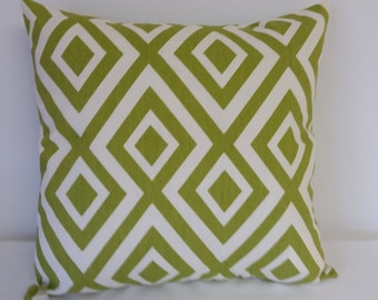 Green and Ivory  pillow cover, Green geometric pillow, throw  pillow, Shower gift, Green pillow cover, Ivory pillow cover,