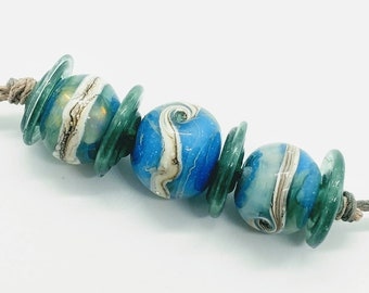 Ocean Rounds and Disks Handmade Lampwork Glass Beads - Prima Donna Beads