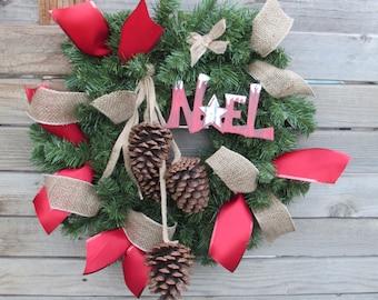 "22"" Christmas Wreath Noel Wreath Greenery Wreath Pine Cone Wreath Red Burlap Wreath Rustic Christmas Wreath Christmas Door Decor"