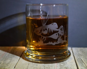 Hand Made Etched Whiskey glass- A Fish in Weeds Springtime A must Have!!