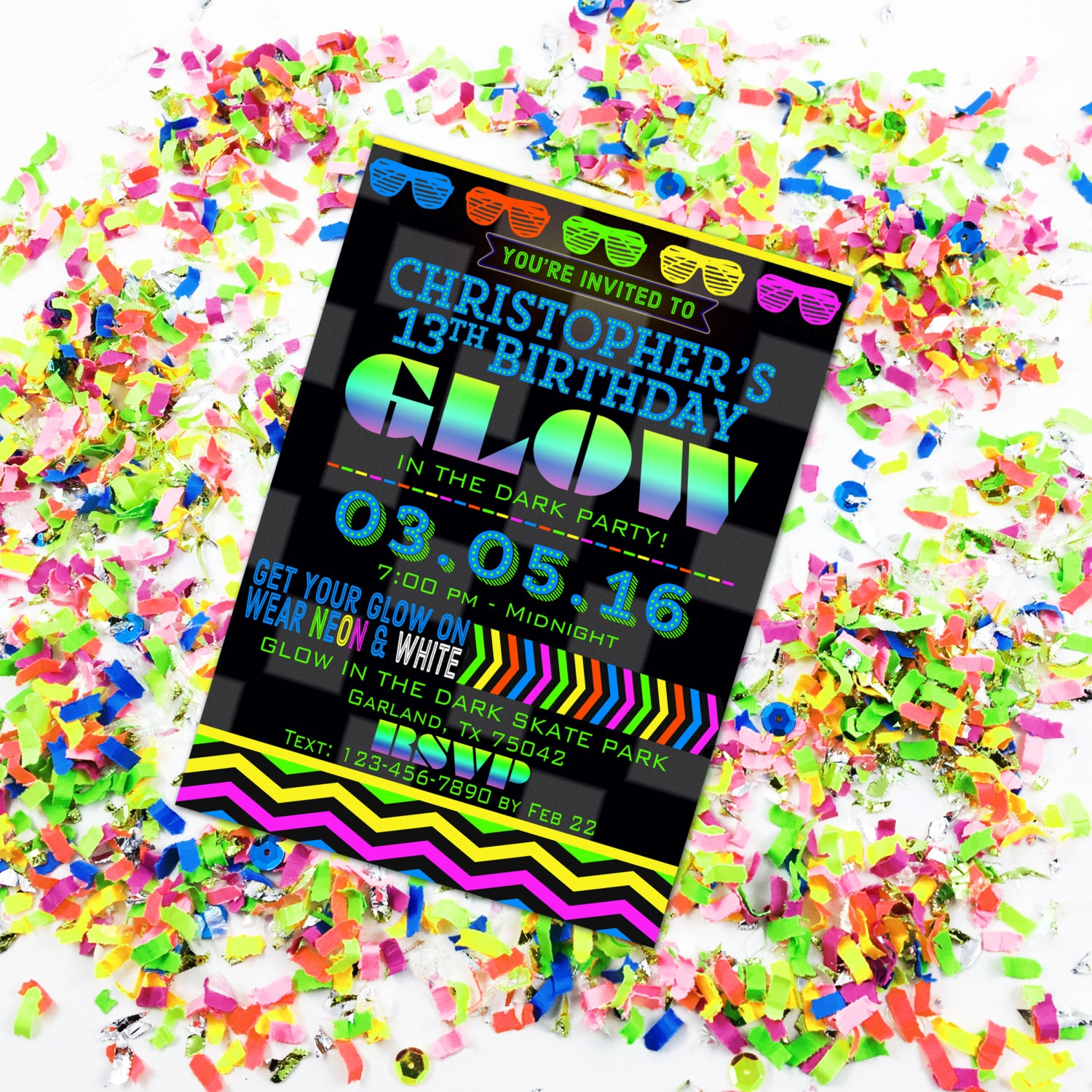 Glow in the Dark Party Invitation Glow Birthday Neon Party
