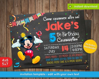 Mickey Clubhouse Invitation - Printable birthday party invite - INSTANT PDF DOWNLOAD