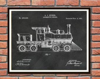 Patent 1891 Locomotive Engine Art Print - Train Patent - Poster - Wall Art - Railway Station Wall Art - Amtrak Wall Art - Railroad Art