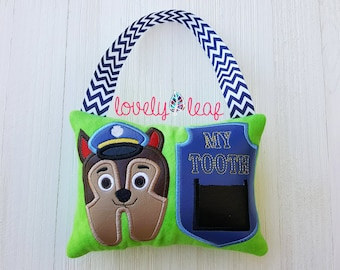 DIGITAL ITEM: Puppy Police Tooth Fairy Pillow ITH Embroidery Design 5x7 Hoop
