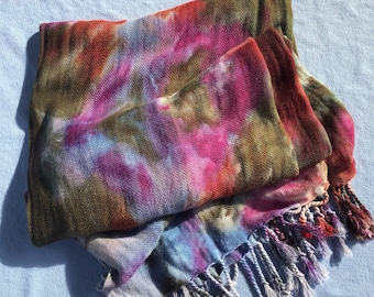 Free Shipping-Handwoven Hand-dyed Scarf with Fringe