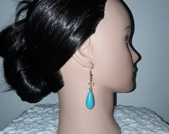 Handmade turquoise and crystal gold tone dangle earrings