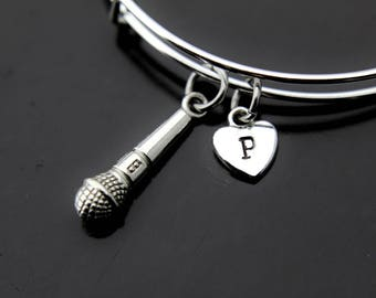 Music Gift Microphone Bangle Silver Microphone Charm Bracelet Microphone Jewelry Personalized Bangle Initial Bangle Initial Charm