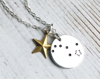 Constellation Necklace Big Dipper Charm Star Necklace Zodiac Necklace Gift for Her North Star Gift for Him Birthday Gift Astrology Necklace