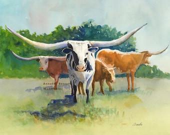 Texas longhorn art print of original watercolor cow painting, longhorn painting, longhorn cattle art western cattle art canvas print , ranch
