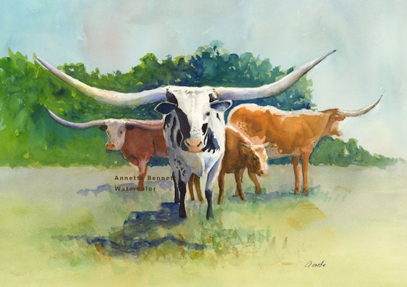 Texas longhorn art print of original watercolor cow painting for Cow painting print