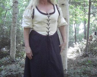 Handsewn Women's Renaissance Bodice Ivory Custom Order to Fit Cosplay LARP