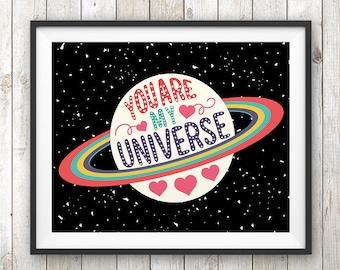 You are my Universe, Nursery Wall Art, Nursery Decor, Kids Room Decor, Universe Art, Printable art