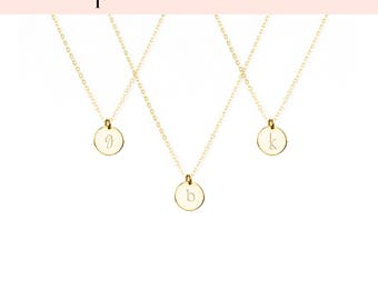 Necklaces for Women, Silver Necklaces for Women, Gold Necklaces for Women, Initial Pendant Necklace, Gold Fill Disc Necklaces, Rose Silver 9