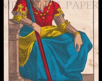 Antique Card / Antique Tarot Card / Baton Playing Card / Digital Instant Download / Paper Ephemera / French Playing Card / Tarot Print Art