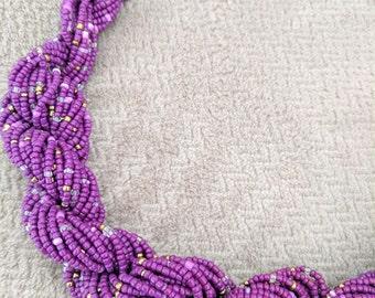 Handmade Purple Beaded Braided Necklace