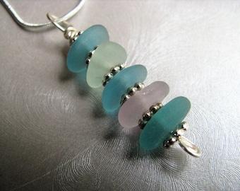 Aqua Blue, Seafoam and Amethyst Sea Glass Pendant - Stacked Beach Glass Pendant-Beach Glass Jewelry-Sea Glass Jewelry- Ocean Stacked Pendant