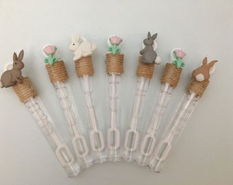 Bunny Party Favor: Bunny Rabbit Party Favor, Easter Bunny Bubble Wands, Bunny Party Supplies
