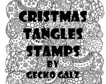 Christmas Tangles Digital Stamp Set