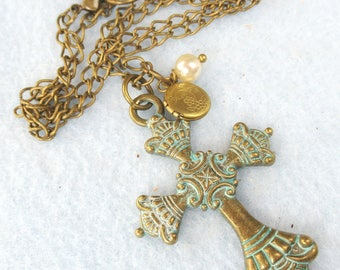 Patina Cross with Locket Necklace