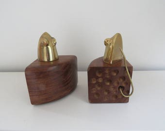 Brass Mouse and Wood Cheese Block Bookends - Mid Century Modernist Bookends