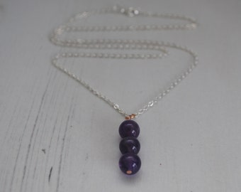 Amethyst Necklace, Amethyst Pendant, Amethyst Gemstone jewelry, silver necklace, Boho Jewelry, Cornwall UK