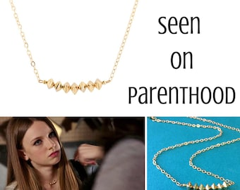 As seen on Parenthood - Bicone Bead Bar Necklace, Gold Bar Necklace, Bronze Choker, Delicate Chain Necklace, #6889E